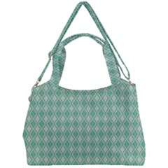 Argyle Light Green Pattern Double Compartment Shoulder Bag by BrightVibesDesign