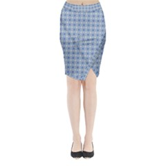 Argyle Light Blue Pattern Midi Wrap Pencil Skirt by BrightVibesDesign
