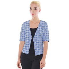 Argyle Light Blue Pattern Cropped Button Cardigan by BrightVibesDesign