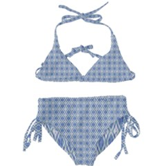 Argyle Light Blue Pattern Kids  Classic Bikini Set by BrightVibesDesign