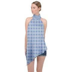 Argyle Light Blue Pattern Halter Asymmetric Satin Top by BrightVibesDesign