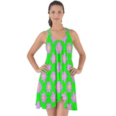 Modern Pink Flowers  On Green Show Some Back Chiffon Dress by BrightVibesDesign