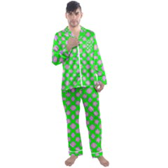 Modern Pink Flowers  On Green Men s Satin Pajamas Long Pants Set
