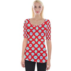 Modern Turquoise Flowers  On Red Wide Neckline Tee