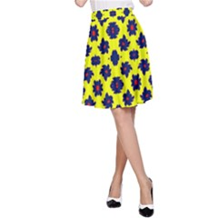 Modern Dark Blue Flowers On Yellow A-line Skirt by BrightVibesDesign