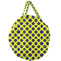 Modern Dark Blue Flowers On Yellow Giant Round Zipper Tote by BrightVibesDesign