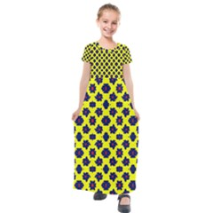 Modern Dark Blue Flowers On Yellow Kids  Short Sleeve Maxi Dress by BrightVibesDesign