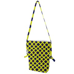 Modern Dark Blue Flowers On Yellow Folding Shoulder Bag
