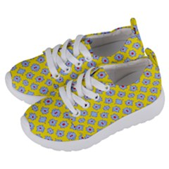 Modern Blue Flowers  On Yellow Kids  Lightweight Sports Shoes by BrightVibesDesign
