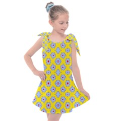 Modern Blue Flowers  On Yellow Kids  Tie Up Tunic Dress