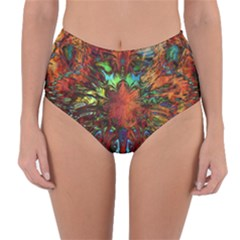 Boho Bohemian Hippie Floral Abstract Reversible High-waist Bikini Bottoms by CrypticFragmentsDesign