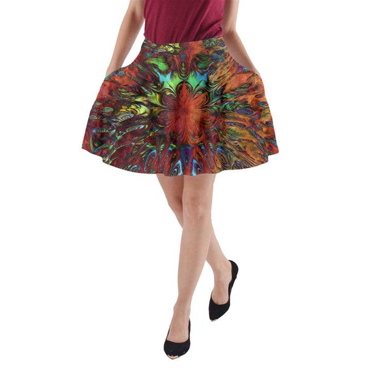 Boho Bohemian Hippie Floral Abstract A-Line Pocket Skirt