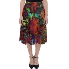 Boho Bohemian Hippie Floral Abstract Classic Midi Skirt by CrypticFragmentsDesign