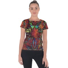 Boho Bohemian Hippie Floral Abstract Short Sleeve Sports Top  by CrypticFragmentsDesign