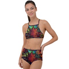 Boho Bohemian Hippie Floral Abstract High Waist Tankini Set by CrypticFragmentsDesign