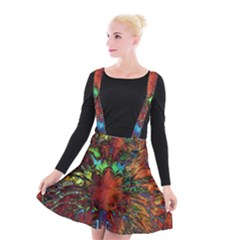 Boho Bohemian Hippie Floral Abstract Suspender Skater Skirt by CrypticFragmentsDesign