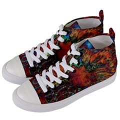Boho Bohemian Hippie Floral Abstract Women s Mid Top Canvas Sneakers by CrypticFragmentsDesign