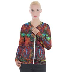 Boho Bohemian Hippie Floral Abstract Casual Zip Up Jacket by CrypticFragmentsDesign
