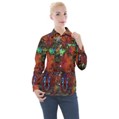 Boho Bohemian Hippie Floral Abstract Women s Long Sleeve Pocket Shirt