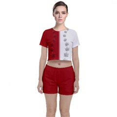 2tone Red Crop Top And Shorts Co Ord Set by CanadaSouvenirs