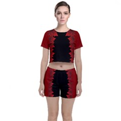Canada Maple Leaves Crop Top And Shorts Co Ord Set by CanadaSouvenirs