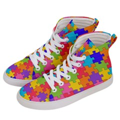 Jigsaw Rainbow Men s Hi Top Skate Sneakers by TimelessFashion
