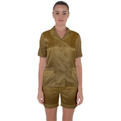 Gold Sensation Satin Short Sleeve Pyjamas Set by TimelessFashion