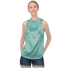Floral Vintage High Neck Satin Top by TimelessFashion