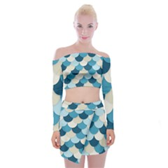 Fishy In Blue Off Shoulder Top With Mini Skirt Set by TimelessFashion