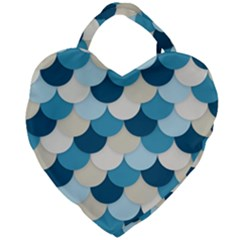 Fishy In Blue Giant Heart Shaped Tote by TimelessFashion