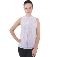 Floral Wedding Mock Neck Chiffon Sleeveless Top by TimelessFashion