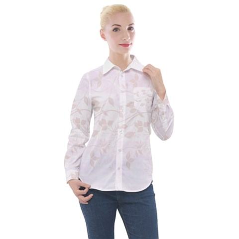 Floral Wedding Women s Long Sleeve Pocket Shirt by TimelessFashion