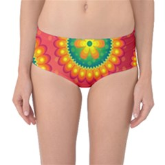 Mandala Dream Mid Waist Bikini Bottoms by TimelessFashion