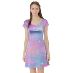 Pink And Blue Sensation Short Sleeve Skater Dress by TimelessFashion