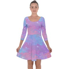 Pink And Blue Sensation Quarter Sleeve Skater Dress by TimelessFashion