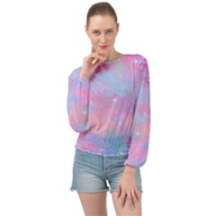 Pink And Blue Sensation Banded Bottom Chiffon Top by TimelessFashion