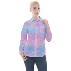 Pink And Blue Sensation Women s Long Sleeve Pocket Shirt