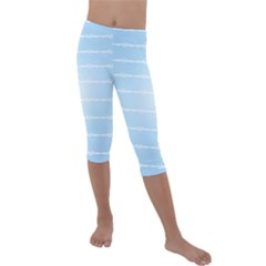 Pastel In Blue Kids  Lightweight Velour Capri Leggings