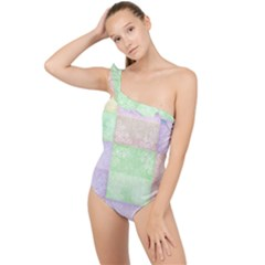 Pastel Quilt Frilly One Shoulder Swimsuit by TimelessFashion