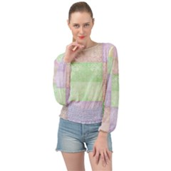 Pastel Quilt Banded Bottom Chiffon Top by TimelessFashion