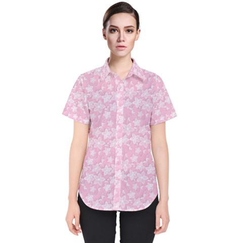 Romantic Little Flowers In Pink Women s Short Sleeve Shirt by TimelessFashion
