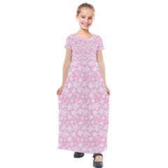 Romantic Little Flowers In Pink Kids  Short Sleeve Maxi Dress by TimelessFashion