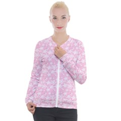 Romantic Little Flowers In Pink Casual Zip Up Jacket by TimelessFashion