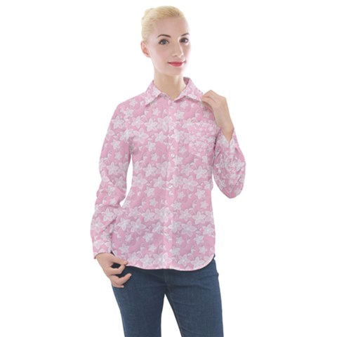 Romantic Little Flowers In Pink Women s Long Sleeve Pocket Shirt by TimelessFashion