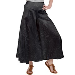 Romantic Black Flowers Satin Palazzo Pants by TimelessFashion