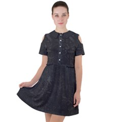 Romantic Black Flowers Short Sleeve Shoulder Cut Out Dress  by TimelessFashion