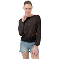 Romantic Black Flowers Banded Bottom Chiffon Top by TimelessFashion