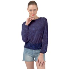 Romantic Blue Flowers Banded Bottom Chiffon Top by TimelessFashion