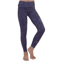 Romantic Purple Flowers Kids  Lightweight Velour Classic Yoga Leggings by TimelessFashion