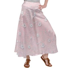 Sweet Flowers In Soft  Pink Satin Palazzo Pants by TimelessFashion